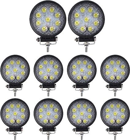 10 X 27w LED Work Light Spot Lamp ATV OffRoad Car Truck Boat Round 12V 24V