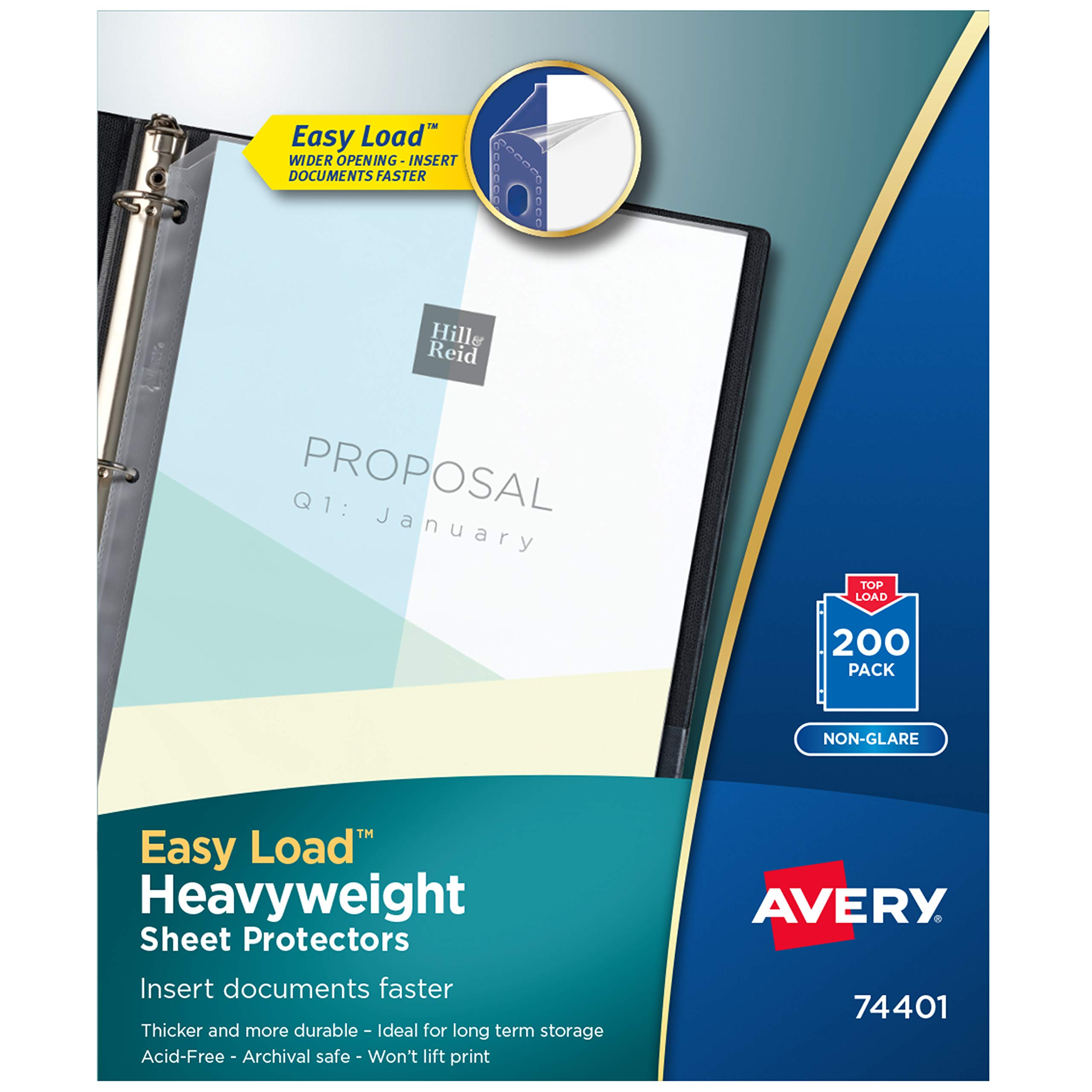 Avery Heavyweight Non-Glare Sheet Protectors, 8.5'' x 11'', Acid-Free, Archival Safe, Easy Load, 200ct (74401) by AVERY