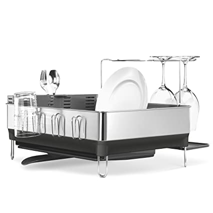 Amazon.com: simplehuman Kitchen Steel Frame Dish Rack With Swivel ...