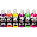 Createx kit 6 colori fluorescenti aerografo 60 ML