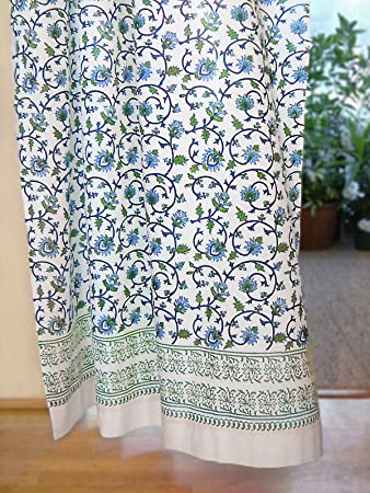 Saffron Marigold Moonlit Taj Blue, Green, Turquoise, and White Indian Inspired Hand Printed Elegant Romantic Sheer Cotton Voile Curtain Panel Tab Top or Rod Pocket 46 x 63