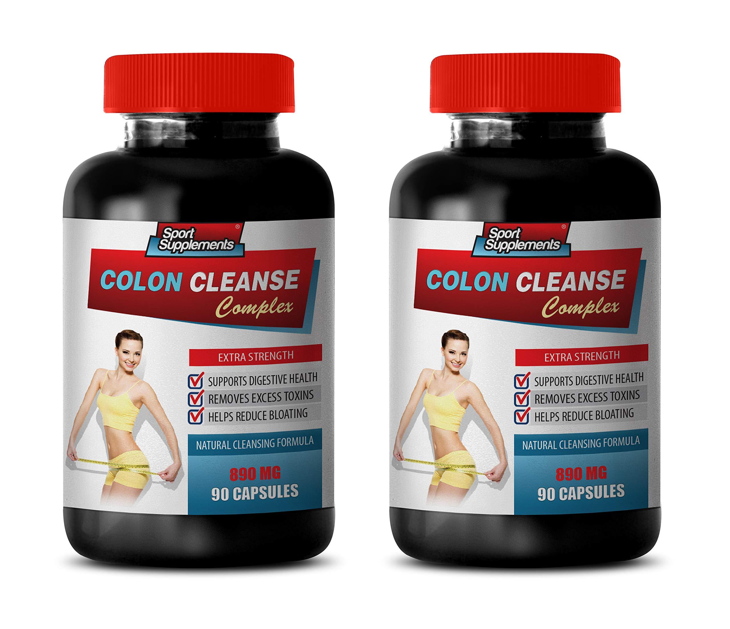Colon Detox Supplements - Colon Cleanse Complex - Extra Strength - psyllium Husk Supplement - 2 Bottles 180 Capsules