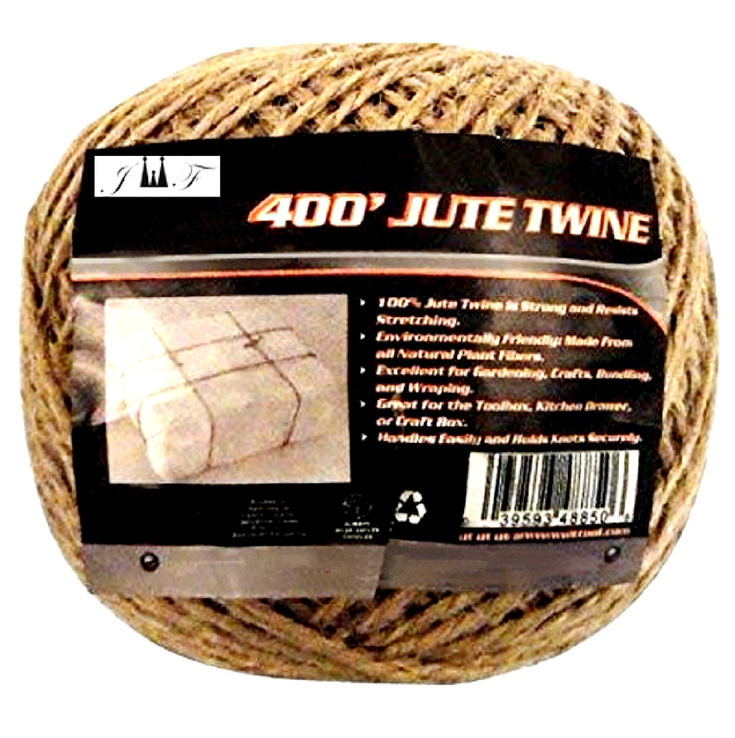 JEWELS FASHION 400Ft Brown Jute Twine-Strong,Heavy Duuty, Durable,Natural, Biodegradable-for Industrial, Packaging, Arts& Crafts, Hobby, Gifts, Decoration, Bundling, Gardening &Home Use