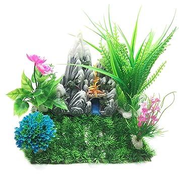 PietyPet Decoración para pecera, plantas verdes de acuario de plástico y grandes acuario, arrecife