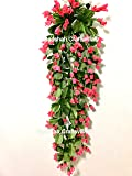 Badshah Gift Centre Artificial Flower Wall Hanging with Iron Stand for Home Décor and Office Purpose, 15x25x75cm (Dark Pink)