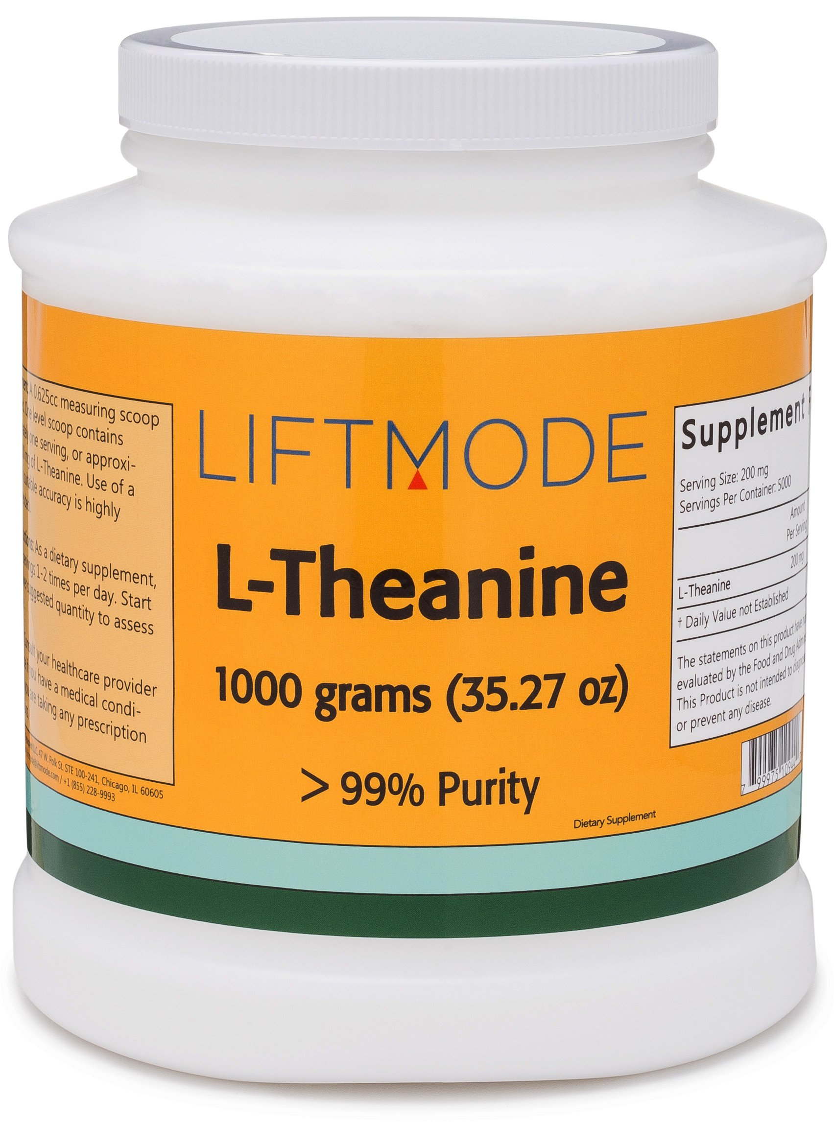 LiftMode L-Theanine 99+% Pure Bulk Powder - 1000 Grams (5000 Servings at 200 mg) | #Top Amino Acid Supplement | For Focus, Stress Relief, Weight Loss, Pre Workout |Vegetarian, Vegan, Non-GMO