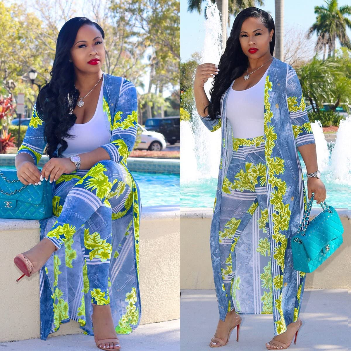 Womens 2 Piece Outfits Open Front Cardigan Stripe and Floral Cover up with Leggings
