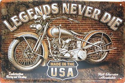 Amazon Com Legends Never Die Harley Davidson Metal Tin Sign