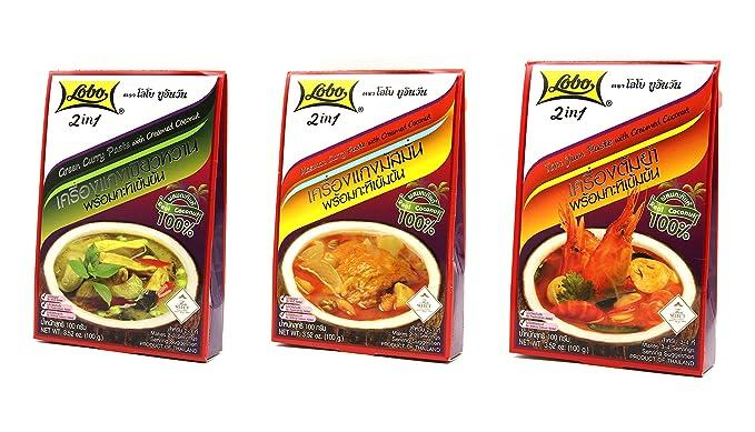 Pasta de Curry Verde, Pasta de Curry Masaman, Pasta de Gambas Tom Yum y