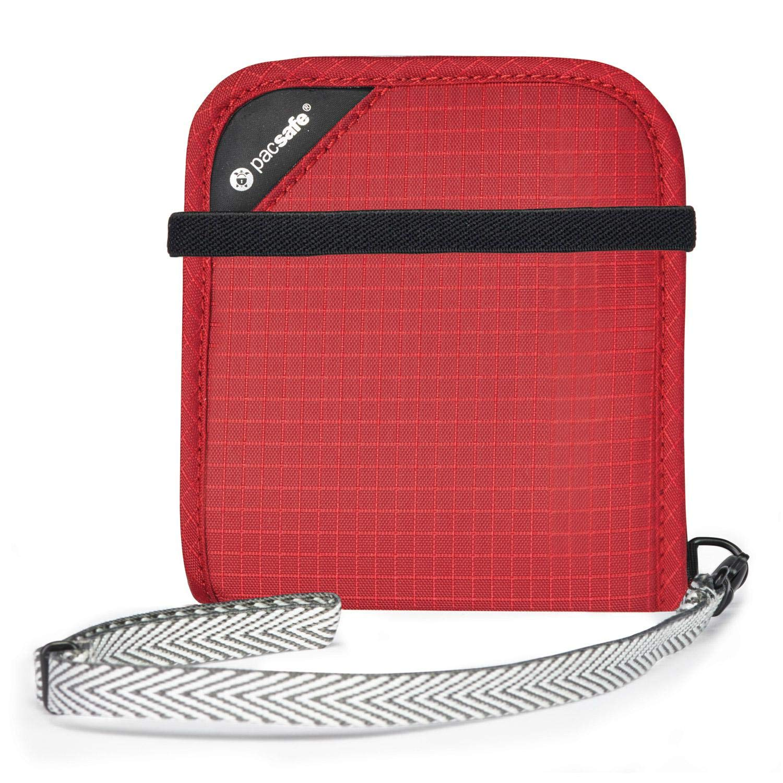 - 10556324 PacSafe Rfidsafe V100 Rojo Cartera Plegable con Bloqueo RFID Goji Berry