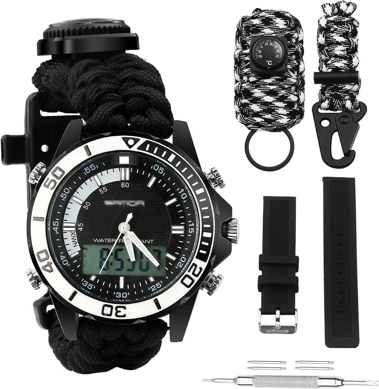 Reloj deportivo digital de supervivencia, resistente al agua, con doble esfera militar, ajustable, 5 patrones de hora, multifuncional, 3 pulseras intercambiables, con equipo de supervivencia