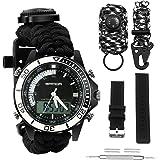 Digital Survival Sport Watch - Waterproof Emergency Military Dual Dial Watch Adjustable 5 Time Patterns Multifunctional…