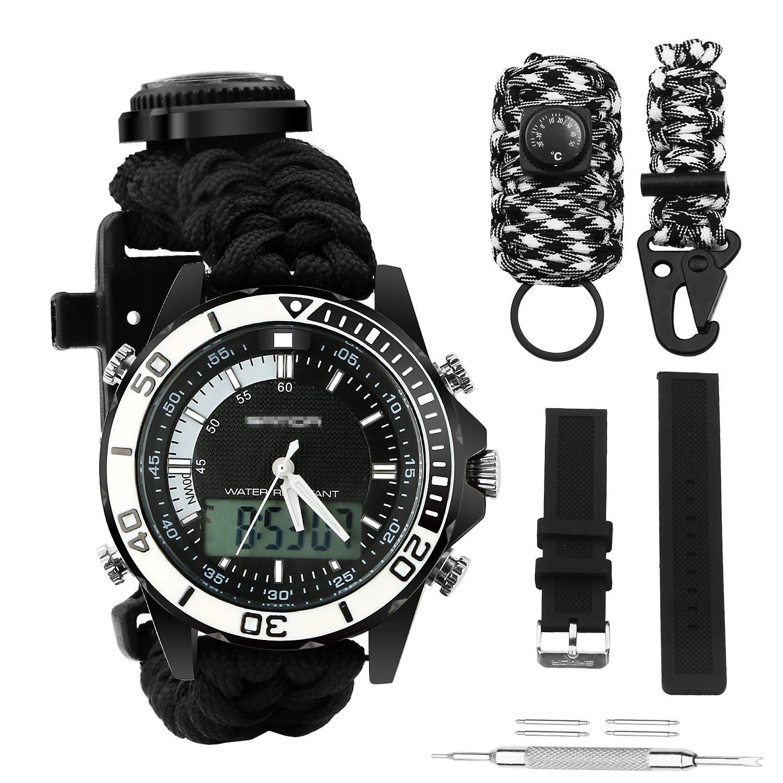 Digital Survival Sport Watch - Waterproof Emergency Military Dual Dial Watch Adjustable 5 Time Patterns Multifunctional 3 Interchangable Wristband Bracelet Watch with Survival Gear