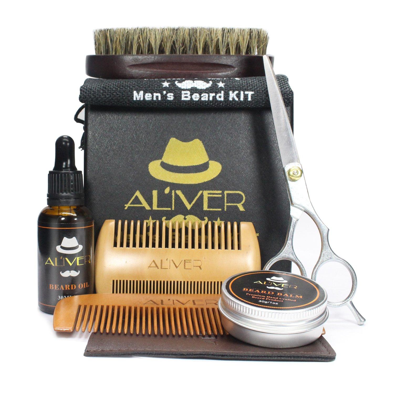 6 in 1 Beard Care Grooming Kit Gift Set for Men, Beard Oil, Beard Balm, Handmade Wood Comb,100% Pure Boar Bristles Brush, Stainless Barber Scissors, Mustache Grooming Trimming Set for Men