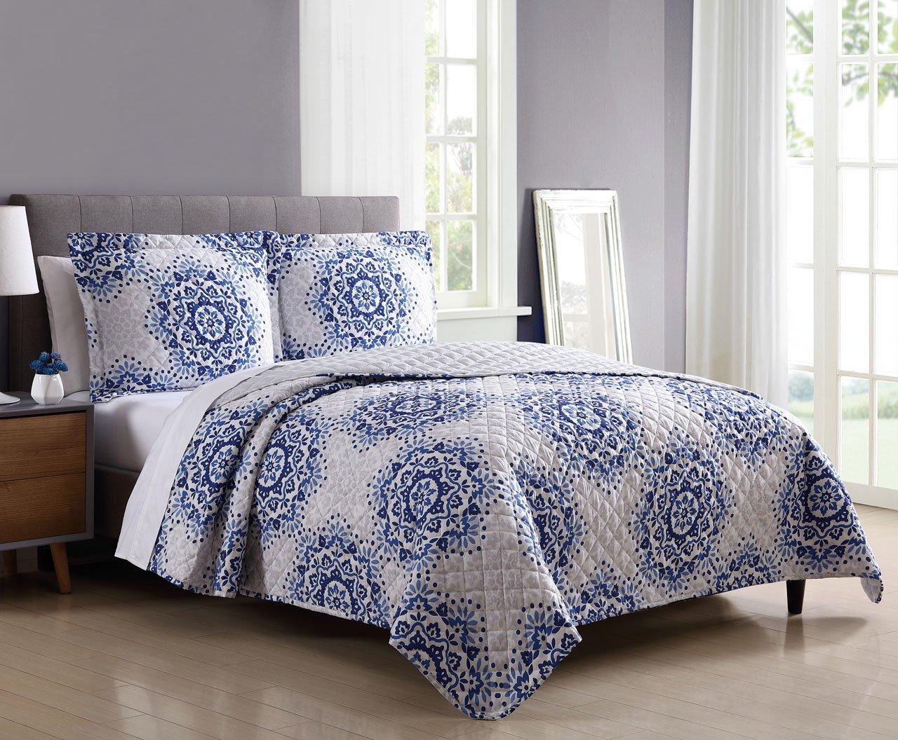 Amazon.com: S.L. Home Fashions 3 Piece Jenelle Blue/Taupe ...