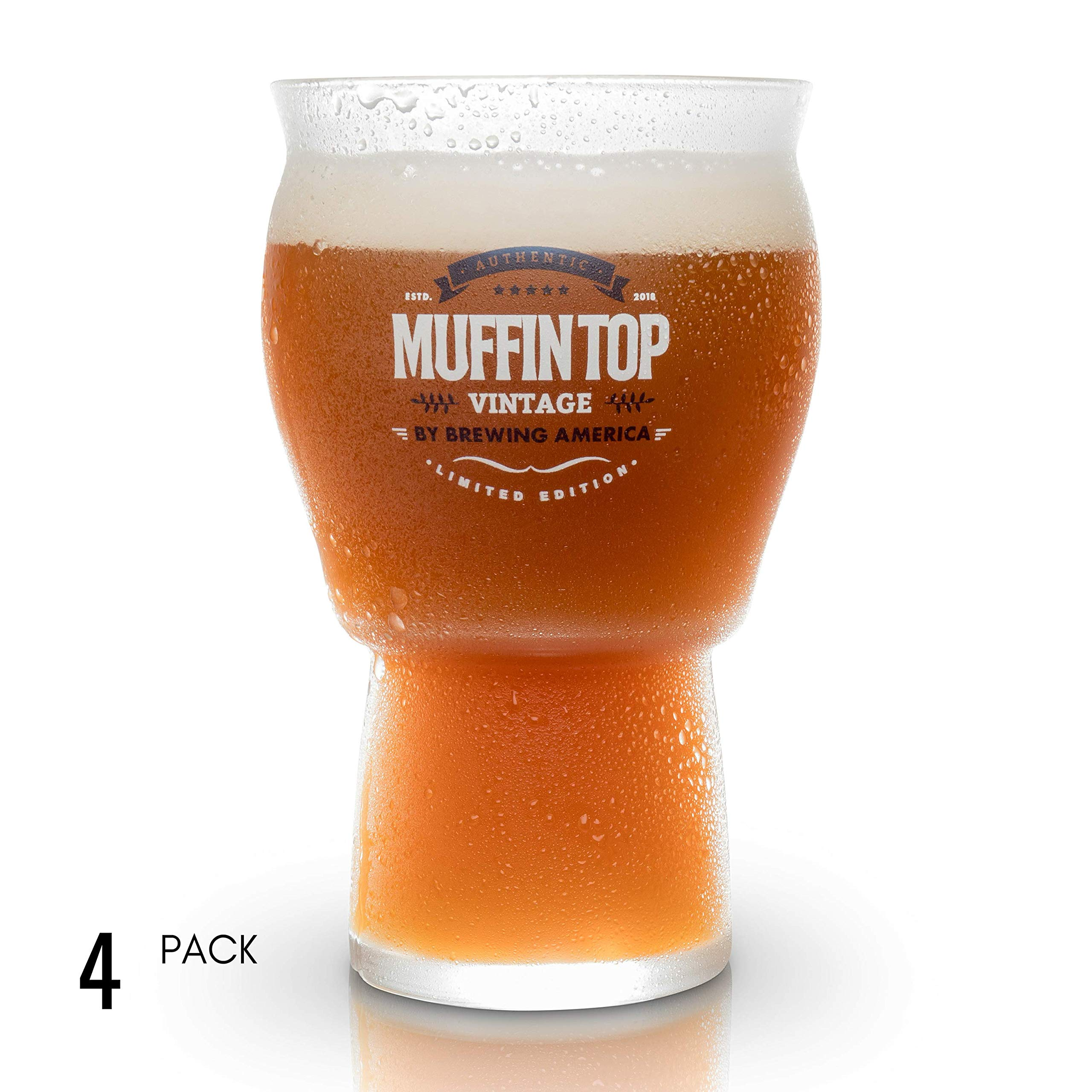 Muffin Top Nucleated Beer Glasses - Pint Glass - Cider, Soda, Tea (Muffin Top Logo 4-pack)