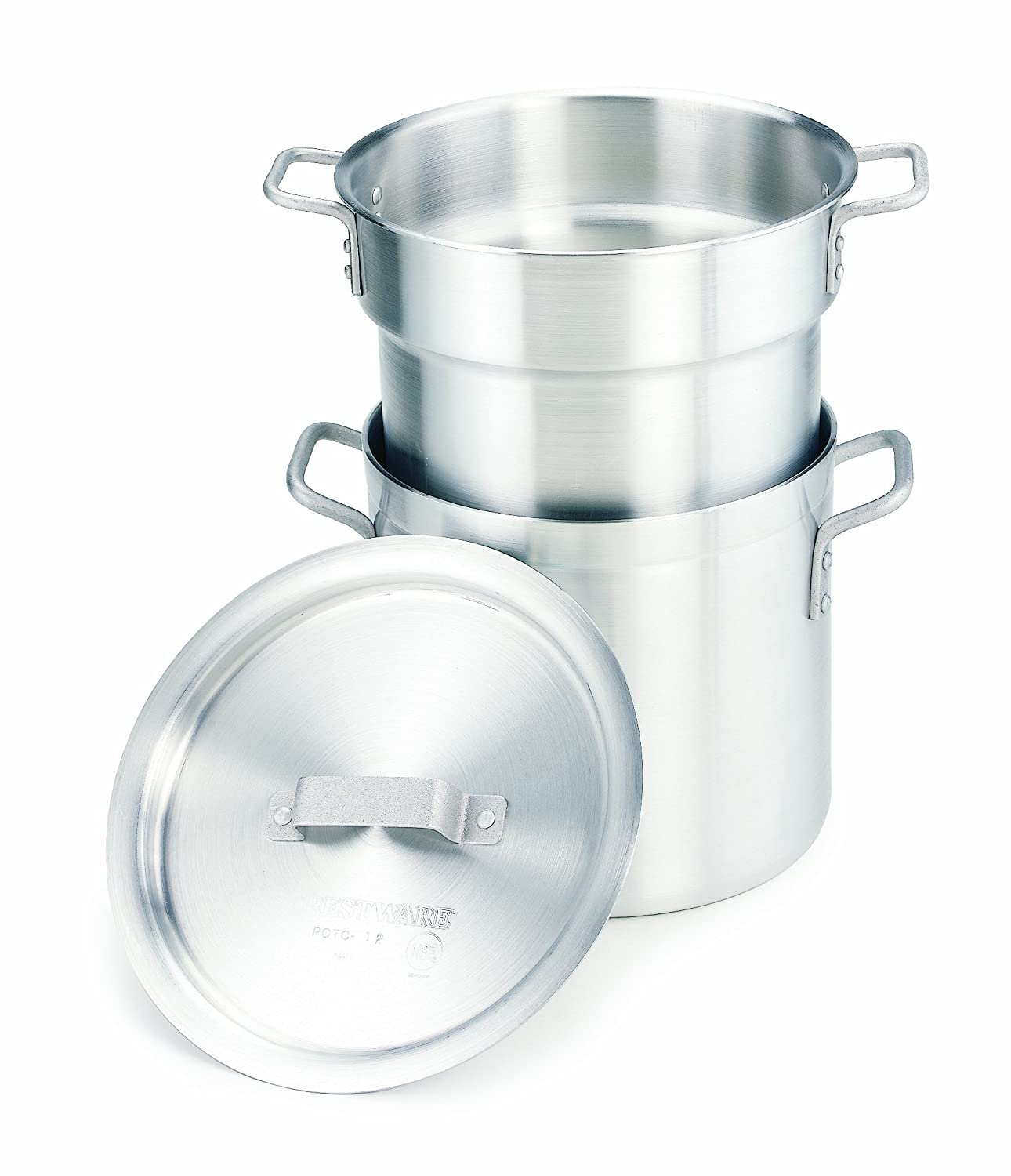 Crestware 12-Quart Heavy Weight Aluminum Double Boiler with 11 Quarter Inset Capacity Crestware Commercial Kitchen DBL12