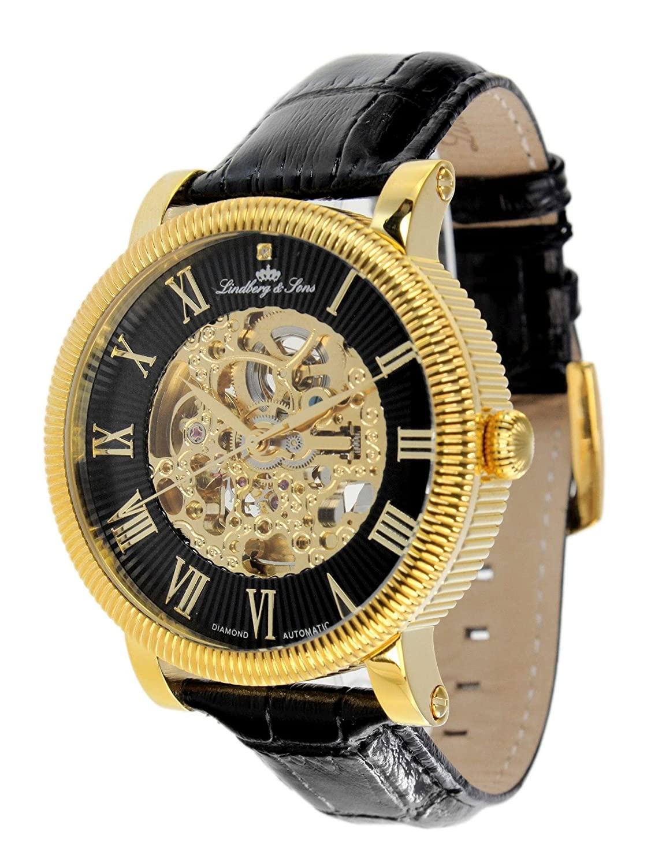 Lindberg & Sons Herren-Armbanduhr Automatik Analog Skelettuhr Leder Schwarz - SK14H024