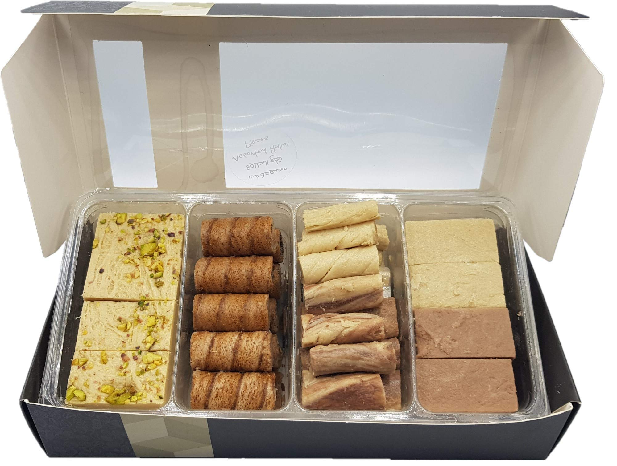 Artisanal Halvah Bars Assorted - 5 Varieties: Pistachio, Marble & Plain - Tahini Halvah Bars (1.8 lbs, 30 Oz, 800 Grams NET, 85-90 Pcs, 4 Layers) Halawa - Flaky Turkish Halva Very Classy Box by Turkish Delight