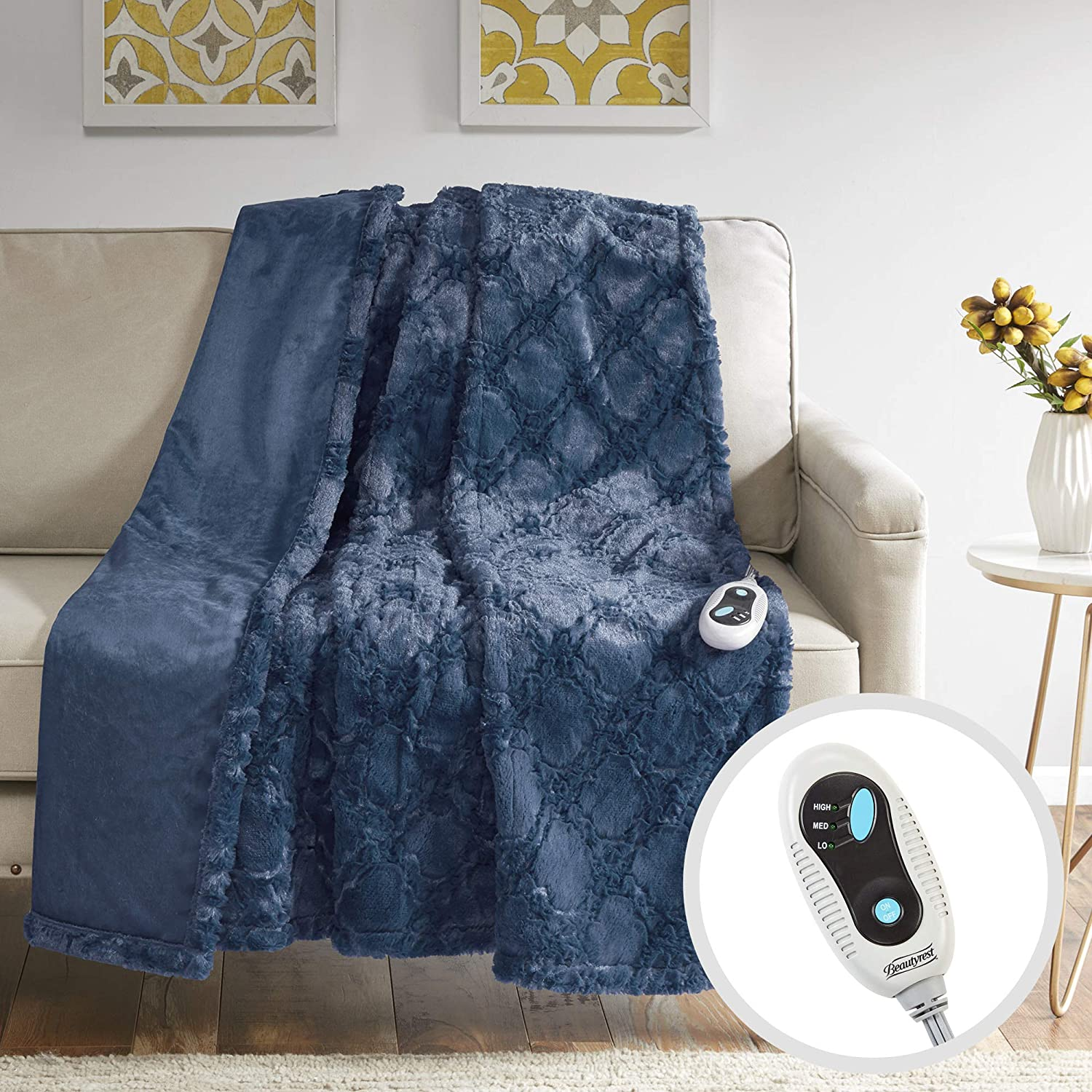 """Beautyrest Brushed Long Fur Electric Throw Blanket Ogee Pattern Warm and Soft Heated Wrap with Auto Shutoff, 50"""" W x 60"""" L, Sapphire Blue"""