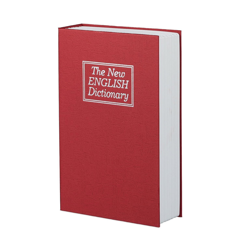mit 2 Schl/üsseln rot Buchsafe Relaxdays Buchtresor gro/ß HBT: 24 x 15,5 x 5,5 cm Stahlschlie/ßfach in Buchform