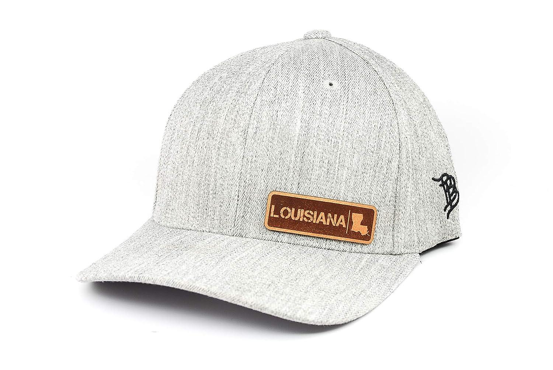Branded Bills /'Louisiana Native Leather Patch Hat Flex Fit SM//MD//Heather Grey