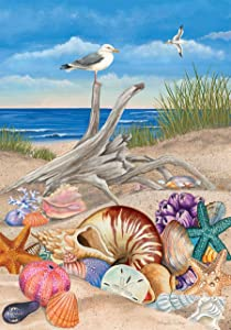 "Ocean Breeze Summer Garden Flag Natuical Seashells Driftwood 12.5"" x 18"""