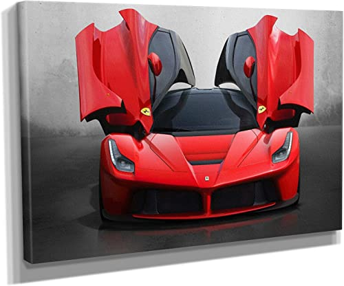 La Ferrari Super Car Canvas Art Wall Art Home Decor 60in x 40in Gallery Wrapped