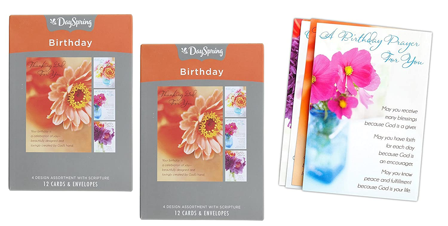 Amazon Set Of 2 DaySpring Floral Birthday Greeting Card Packs 24 Cards With Envelopes Office Products