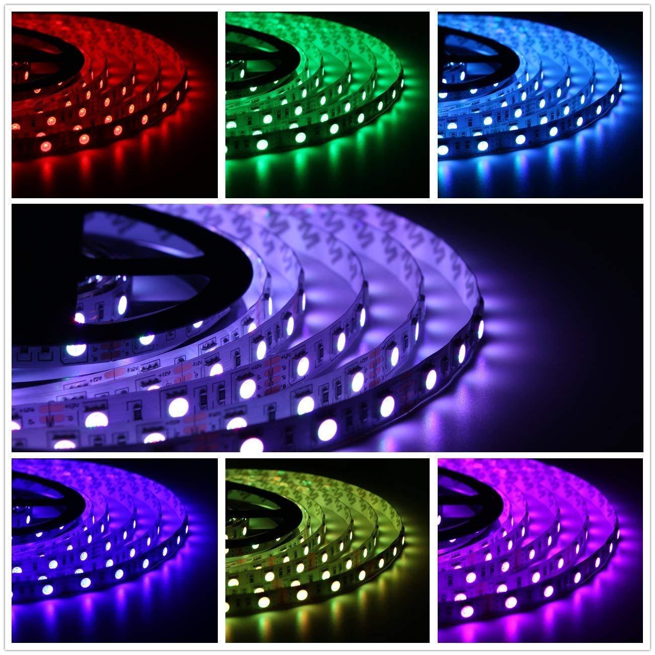 Salcar 10m RGB LED Strip mit 600 LEDs (SMD5050), mit 600 LEDs (SMD5050), 16 Farben auswählbar, inkl. 24 Tasten IR-Fernbedienung, Controller und 12V Netzteil (2017 und Version 2018 beliebig geliefert) 16 Farben auswählbar