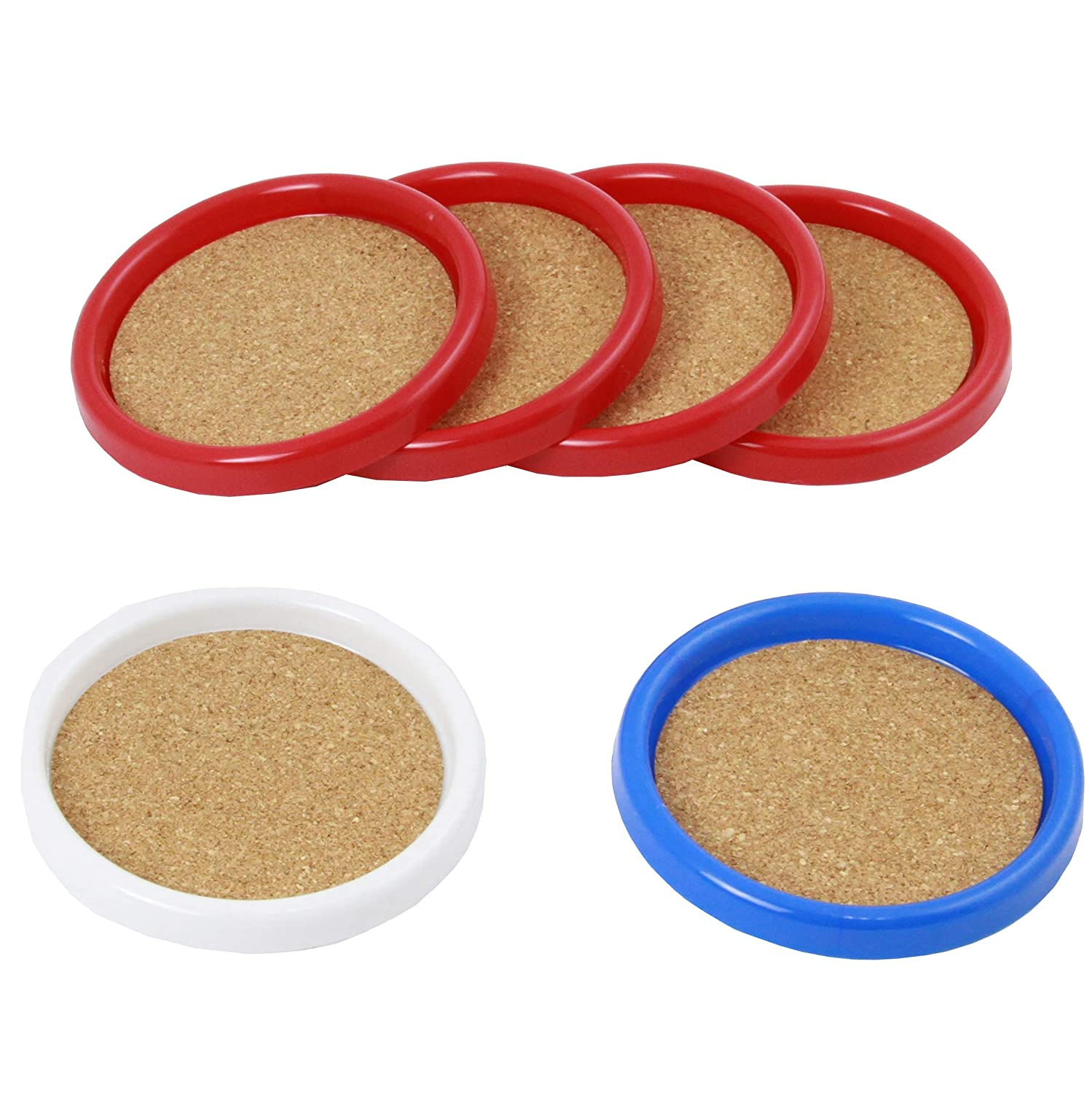 Chef Craft Cork Coasters with Plastic Frame assorted colors