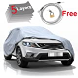 "5 Layer Car Cover SUV Cover - KAKIT Durable Waterproof Windproof for Summer Outdoor, Rain, Dust, Sun UV All Weather Prevention, Windproof Ribbon & Anti-theft Lock, Fits up to 180"" SUV"