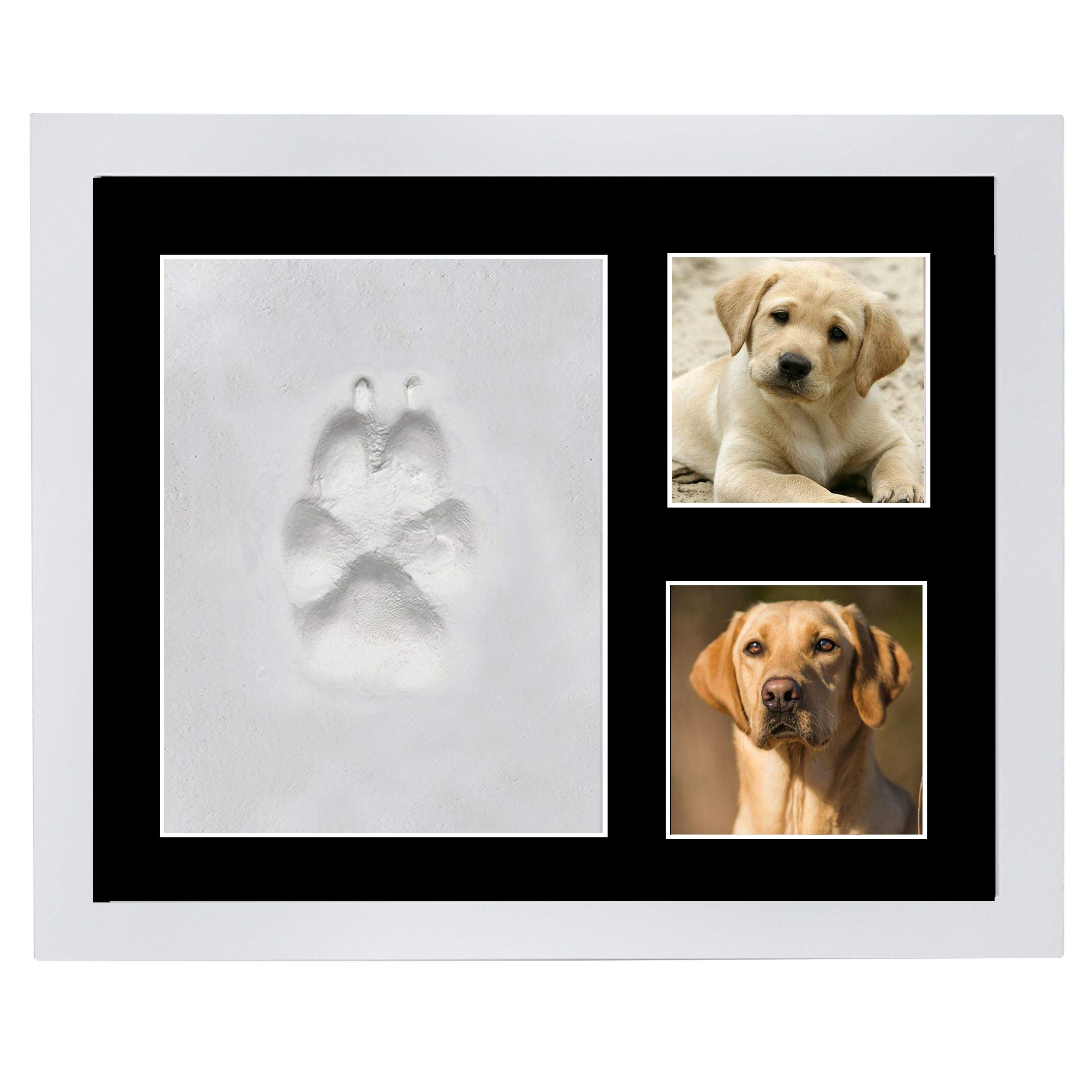 Veahma Baby Quality Clay Imprint Kit! White Wood Picture Frame|(BLACK) Mat|Non-Toxic Clay|Pet Paw Print Kit|Unique Baby Shower Gift for New Born Baby, Boy, Girl, Pet, Parents! (Black)