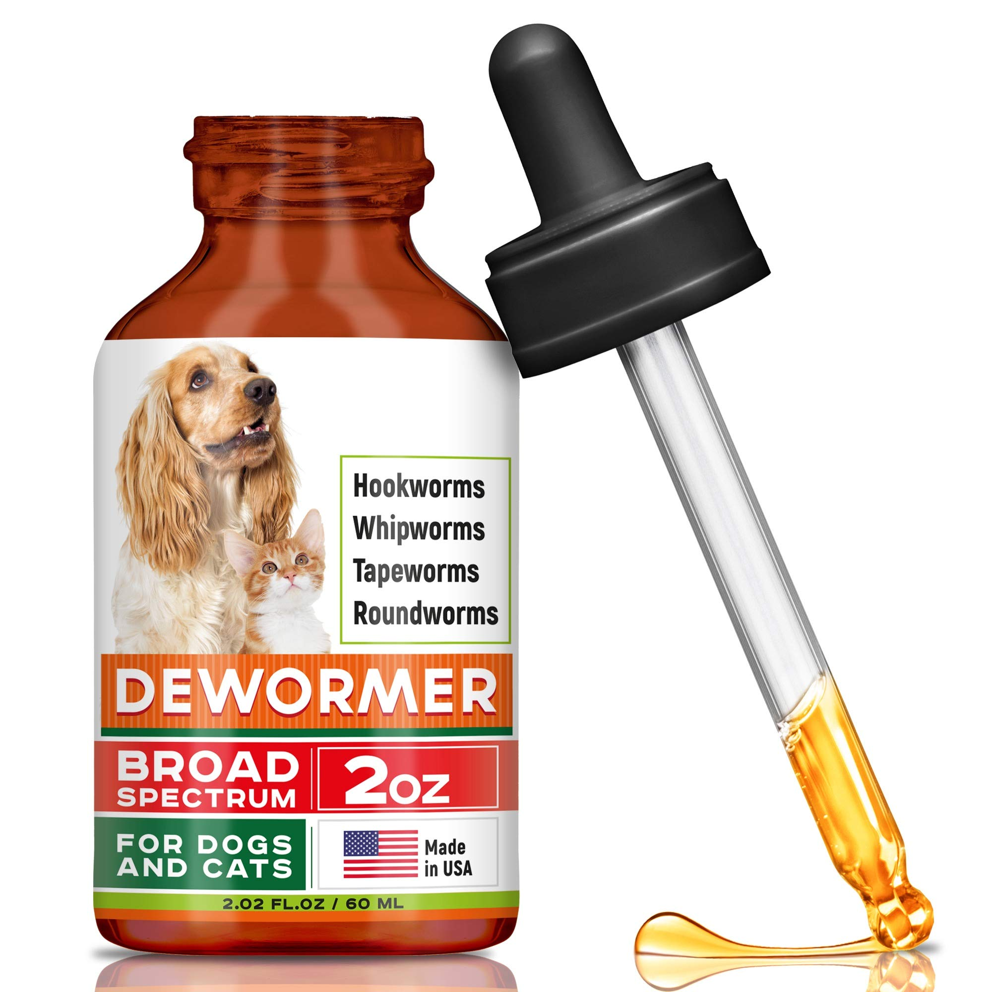 GOODGROWLIES Dewormer for Dogs and Cats - Made in USA Broad Spectrum Worm Treatment - Eliminates & Prevents Tapeworms, Roundworms, Hookworms, Whipworms - All Breeds and Size - Puppy & Kitten - 2oz by GOODGROWLIES