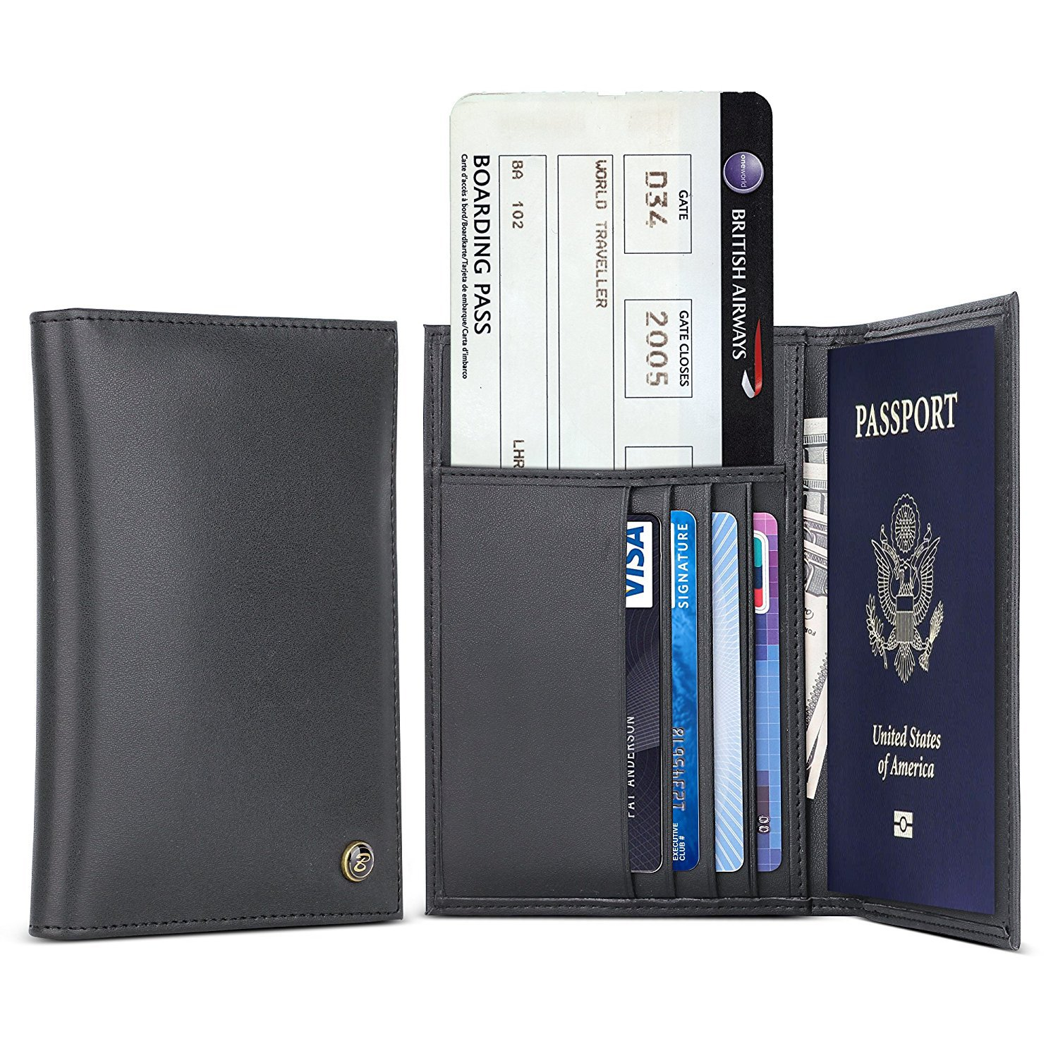 Genuine Leather Passport Holder - B BELK RFID Blocking Travel Wallet Cover Case For Men & Women,Protect Your Passport,Airline Ticket, Credit ...