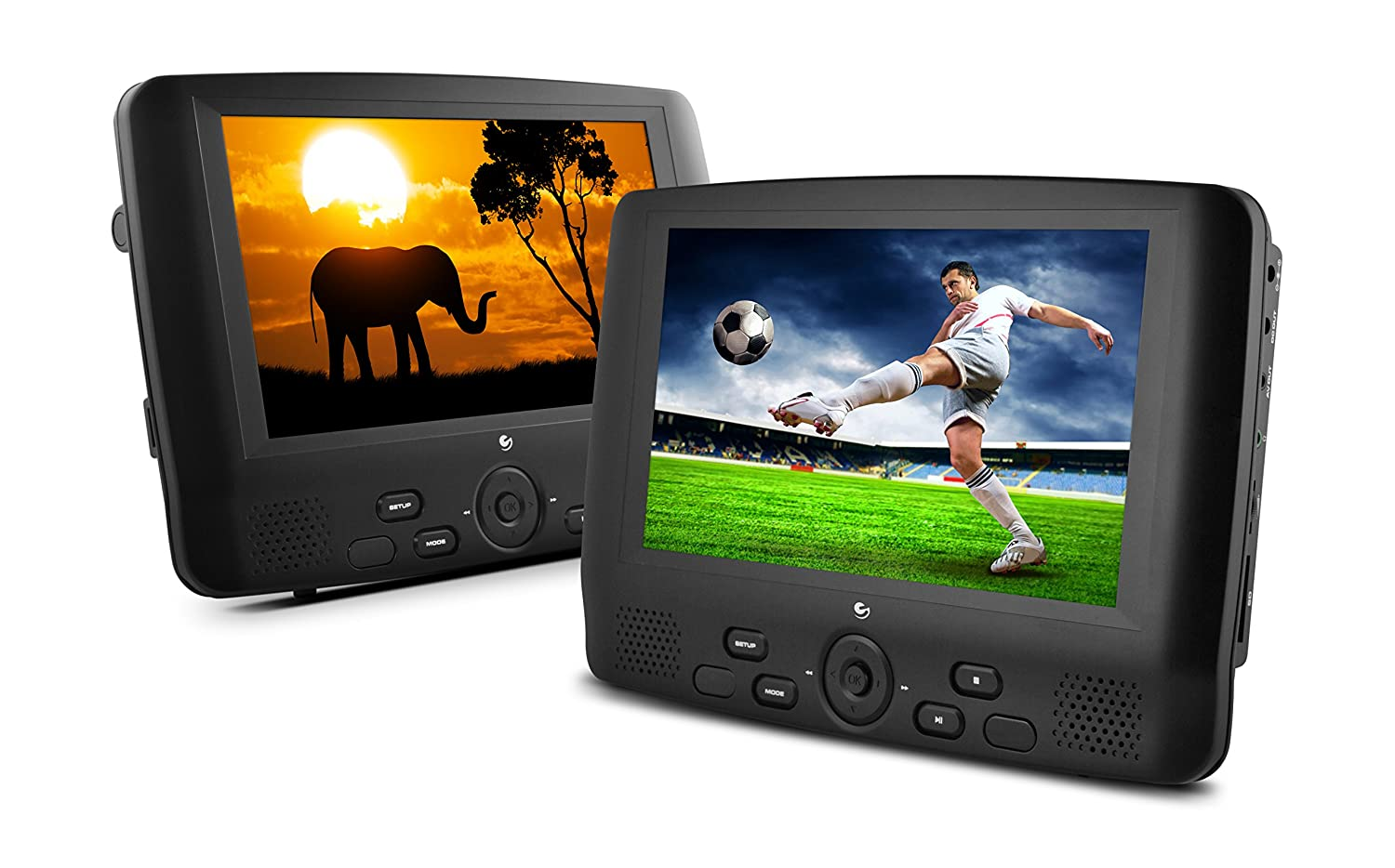 Amazon com ematic ed929d 9 inch dual screen portable dvd player with dual monitors black electronics