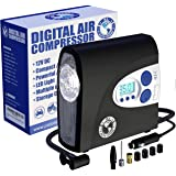 [PI AUTO] AIR COMPRESSOR Portable Tire Inflator with Pressure Gauge and LED Light for Cars and Bikes. 12V DC Air Compressor T