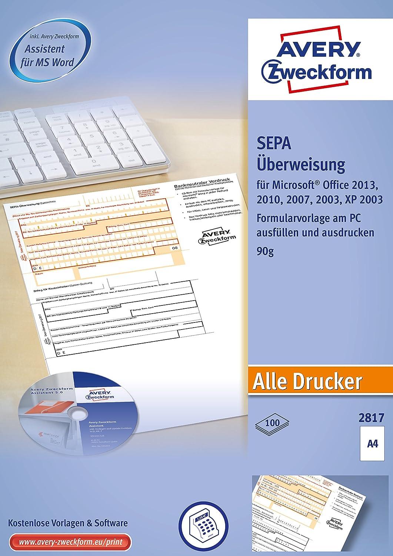 100 Bl. Software-CD A4 Avery Zweckform® 2817 Sepa-Überweisung inkl