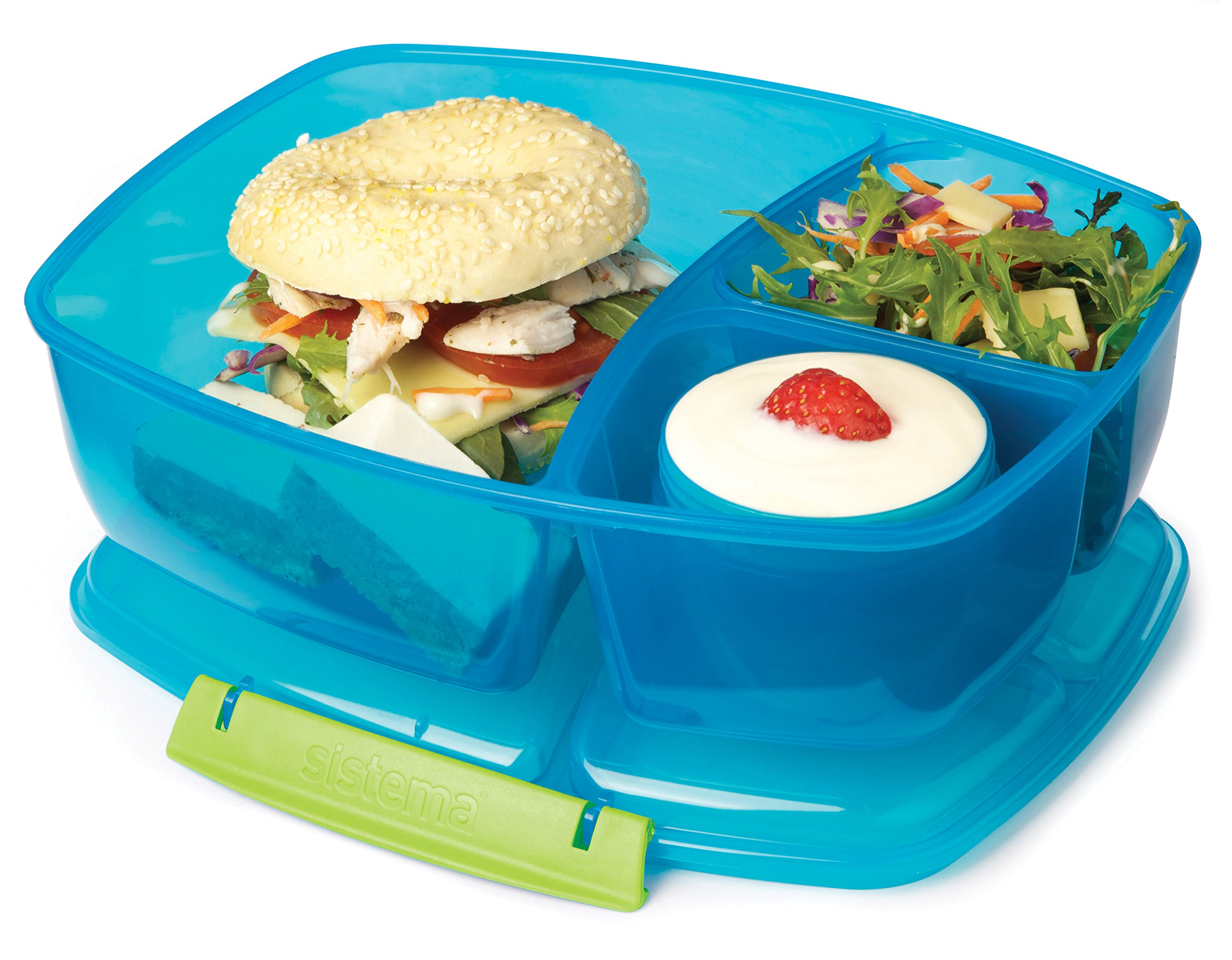 Sistema Lunch Collection Triple Split Lunch Box with Yogurt Pot Food