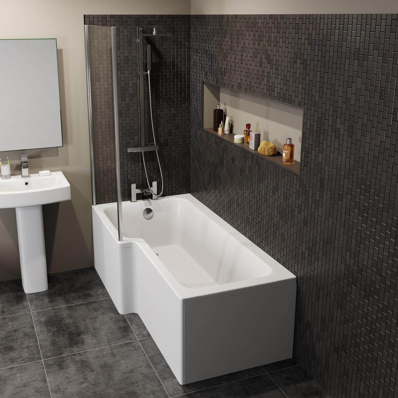 Ceramica Modern L Shaped Shower Bath Only Left Hand Bathtub 1700mm Acrylic Bathroom Tub