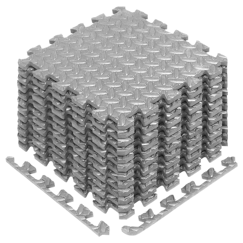 Yes4All Interlocking Exercise Foam Mats with Border – Interlocking Floor Mats for Gym Equipment – Eva Interlocking Floor Tiles (Gray) by Yes4All (Image #1)