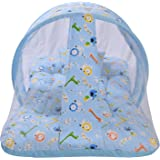 Baby Fly New Born Baby Bedding Set with Foldable Mattress, Mosquito Net and Pillow - Blue 0-6 Months