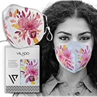 Face Mask Reusable Fashion Mask With Elastic Ear Loops & Silicon Clips Floral Collection (White)