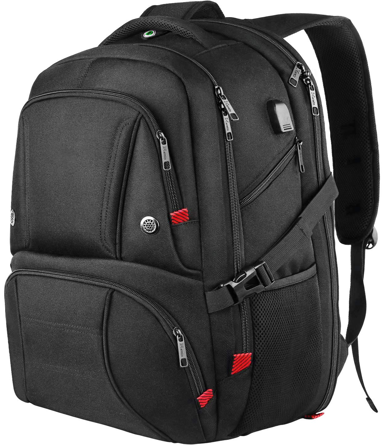 Extra Large School Laptop Backpack for Men, 18.4 Inch Durable College Backpack with USB Charging Port, TSA Friendly Large Travel Backpack for Men Women Student, Black