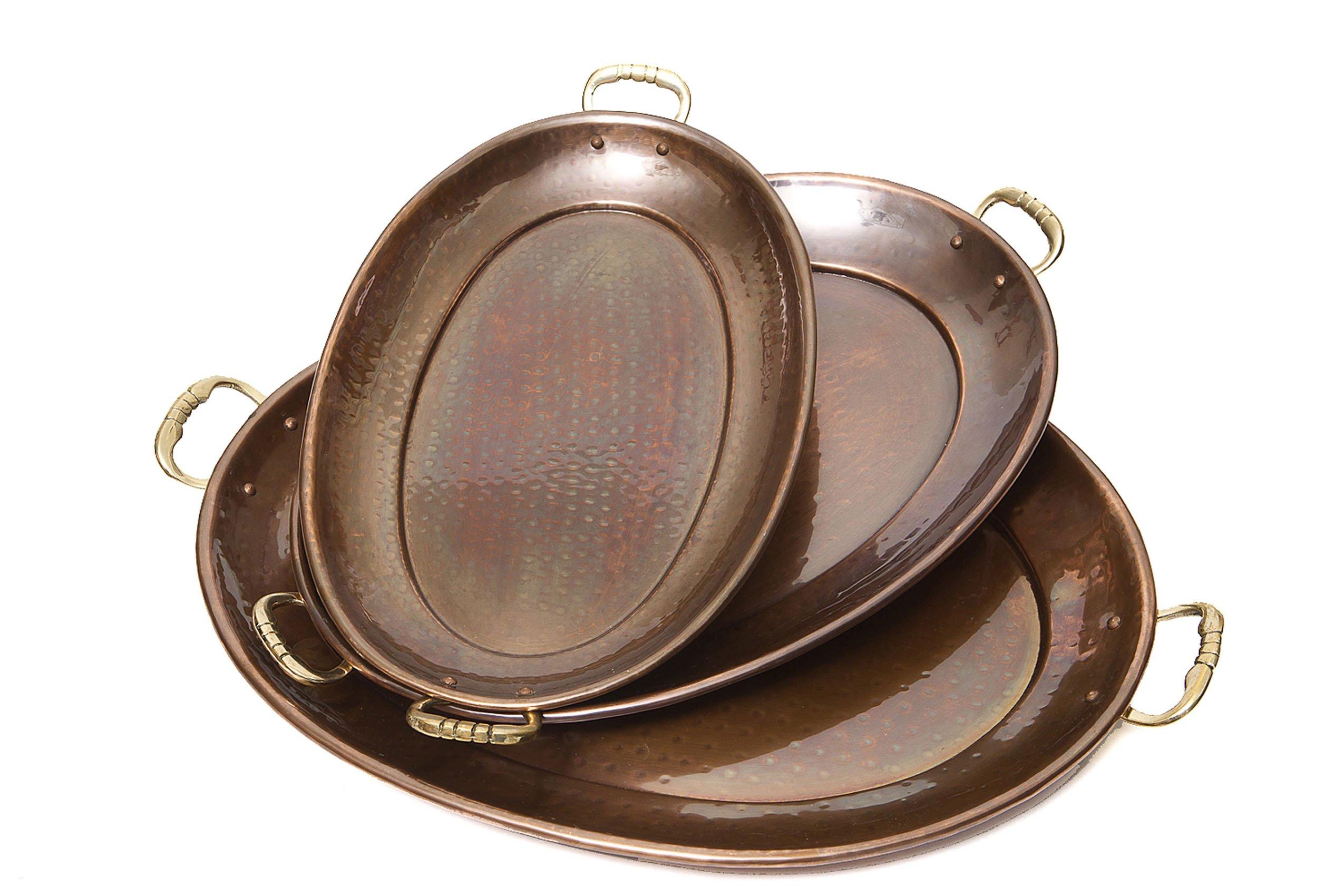 Old Dutch Decor Antique Copper Oval Tray, 17-Inch by 13-Inch, 15-Inch by 11-Inch and 13-1/4-Inch by 8-3/4-Inch, Set of 3