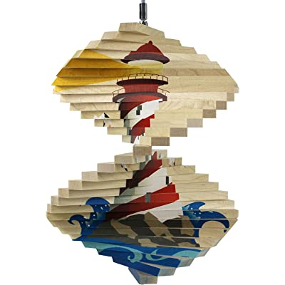 Lighthouse Wood Wind Spinner - Made in USA : Garden & Outdoor