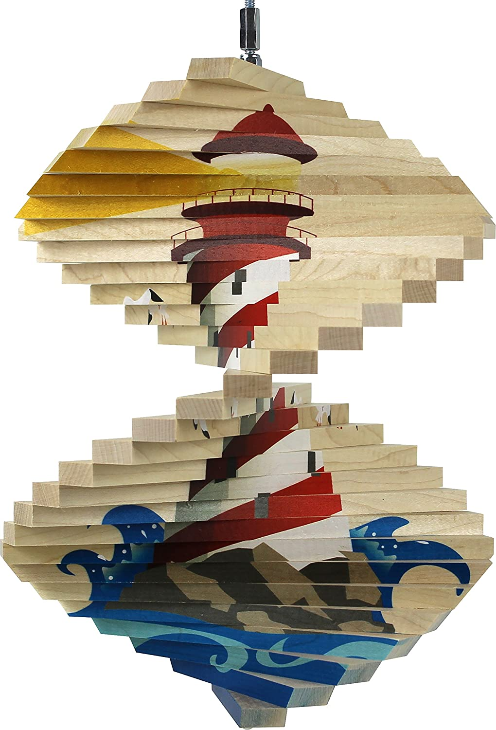 Lighthouse Wood Wind Spinner - Made in USA