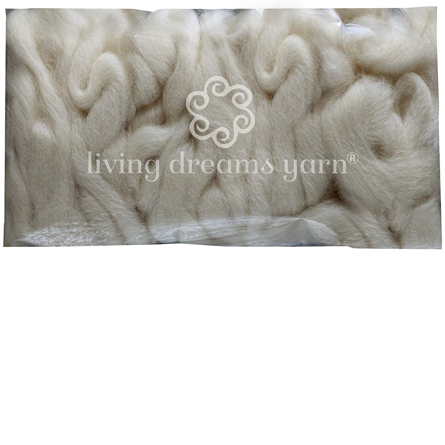 Wool Roving Craft Fiber. Natural Soft BFL Wool Top. Pre-drafted for easy Hand Spinning, Needle Felting, Wet Felting, Weaving, Embellishments, and Felted Soap. 1 Ounce, Natural Living Dreams Yarn