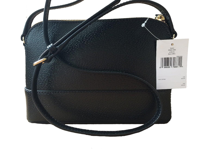 eae038378e Amazon.com  Kate Spade Wellesley Hanna Leather Handbag Shoulder Bag  Crossbody Purse (Black)  Shoes