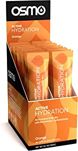Osmo Nutrition Active Hydration   20-Count Single Serve Box   During-Exercise Electrolyte Powdered Drink   Fastest Way to Rehydrate   All Natural Ingredients (Orange, 20 Grams)